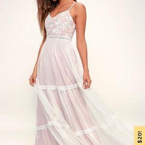 Lulus white elenora embroidered maxi dress